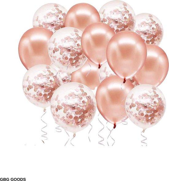 GBG 40 stuks Rose Goud Ballonnen met Lint – Decoratie – Feestversiering - Papieren Confetti – Rose Gold - Roze Gold Latex - Verjaardag - Bruiloft - Feest