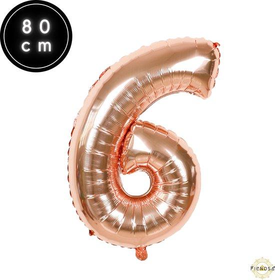 Cijfer Ballonnen - Cijfer Ballon Rose - Cijfer 6 Ballon - 82 cm Hoog - Ballonnen Verjaardag - Feestversiering - 16 Jaar - 60 jaar - Fienosa