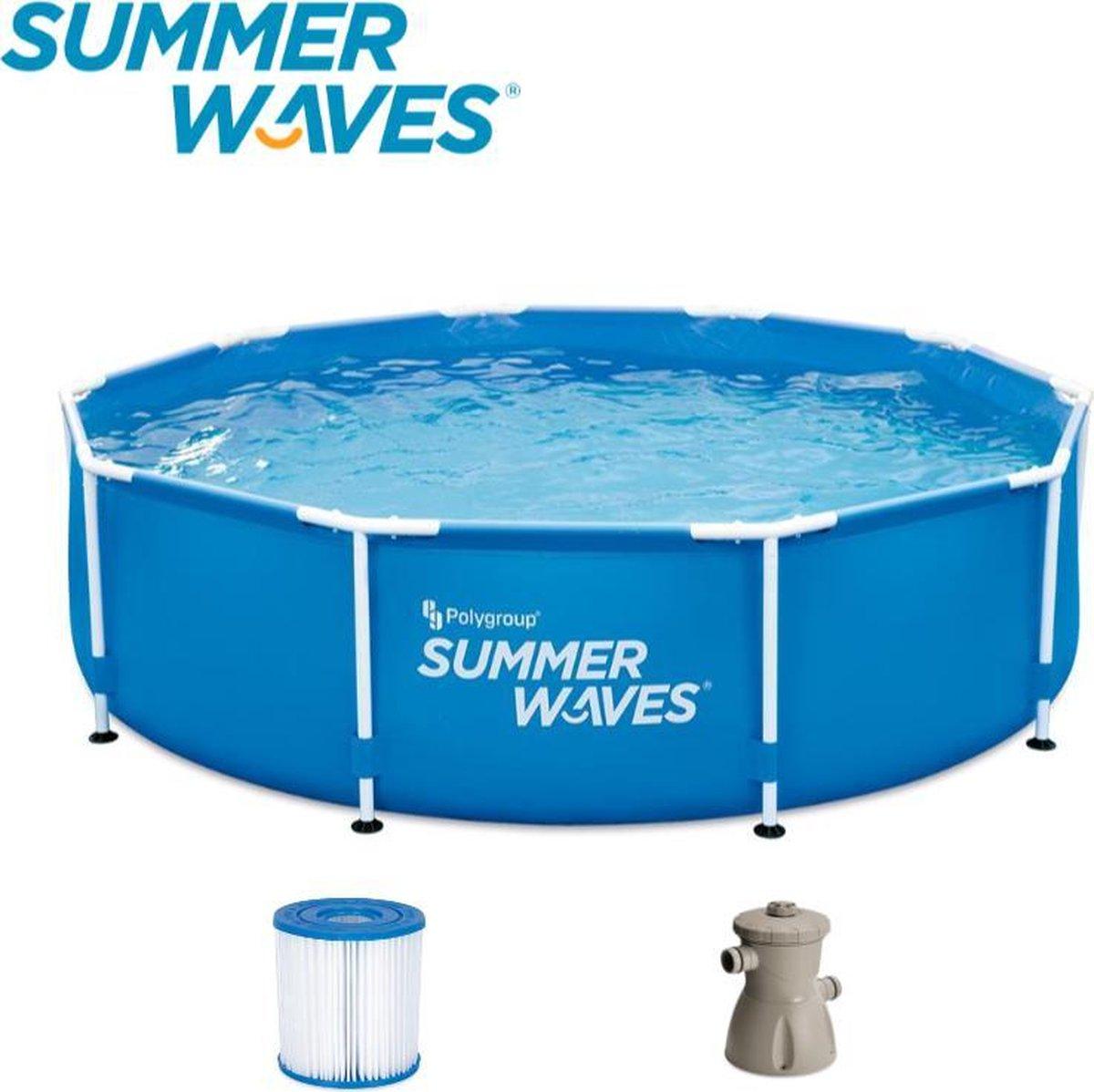 Summer Waves Frame Zwembad   Ø 366 cm x 76 xm   Inclusief Filterpomp   Blauw