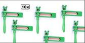 10x Ratels met kikker kop - ratelaar muziek instrument herrie maker carnaval kikker hout grappig en fout optocht