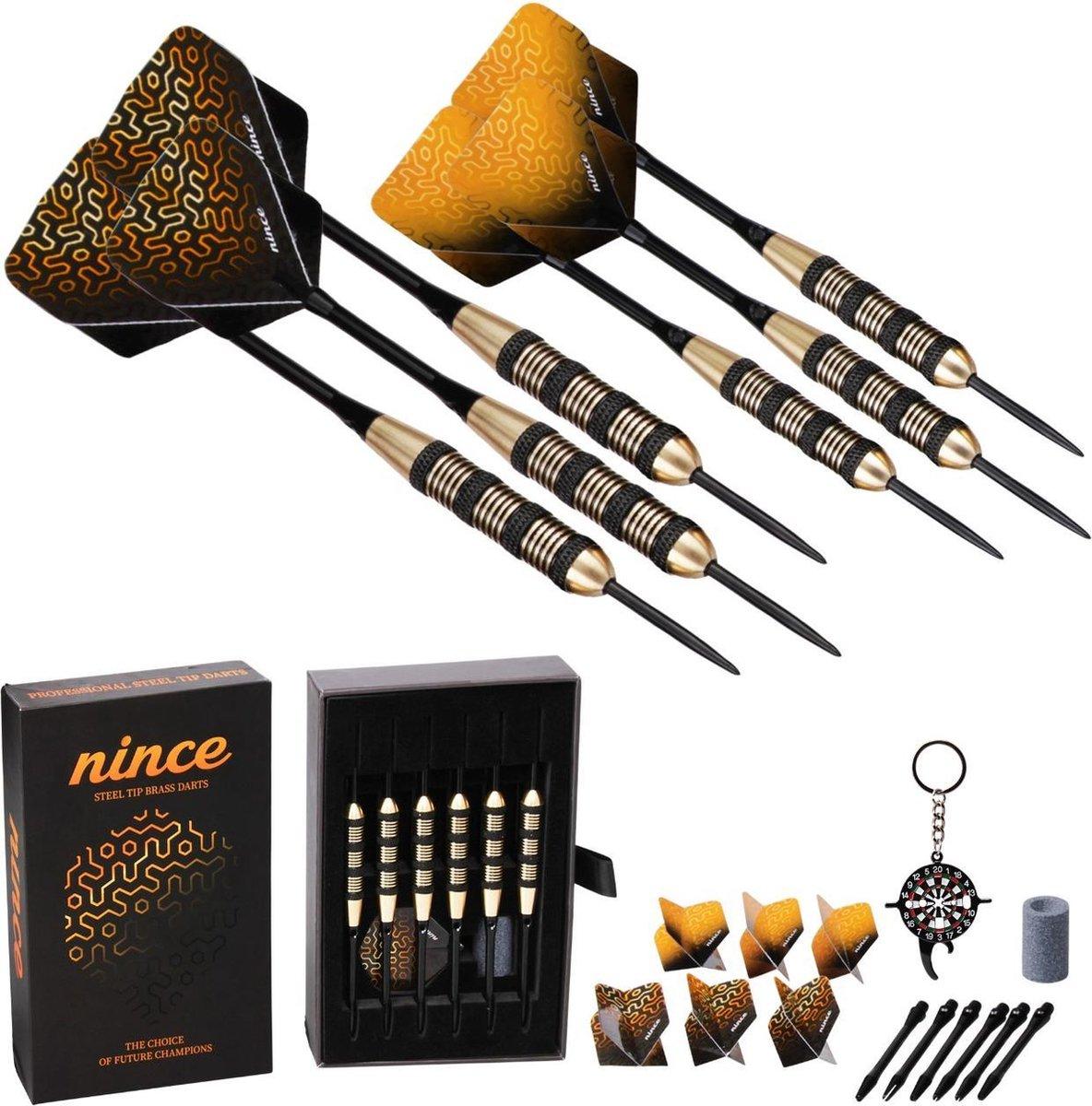 Nince Premium Dartpijlen van Hoge Kwaliteit Steeltip - Set van 6 - Dartpijltjes 23 Gram - Origineel cadeau
