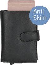 Businessme - Pasjeshouder Mannen en Vrouwen Anti Skim - Portemonnee Heren - Kaarthouder Zwart - Leer - RFID Aluminium Uitschuifbaar