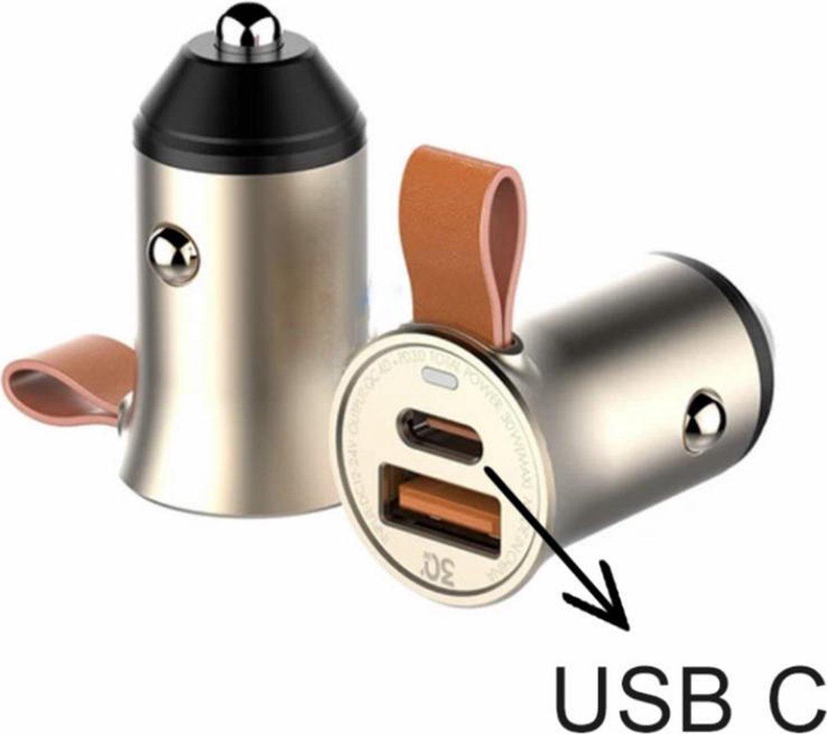 Originele GreenOn Dual Poort USB-C USB-A AutoLader | QC4+ PD & USB Type C Car Charger 30W | Snellader Geschikt voor Apple iPad/iPhone & Samsung (7, 8, X, XR, XS, 11, 12, S10, S20, S21) - Sigarettenaansteker oplader