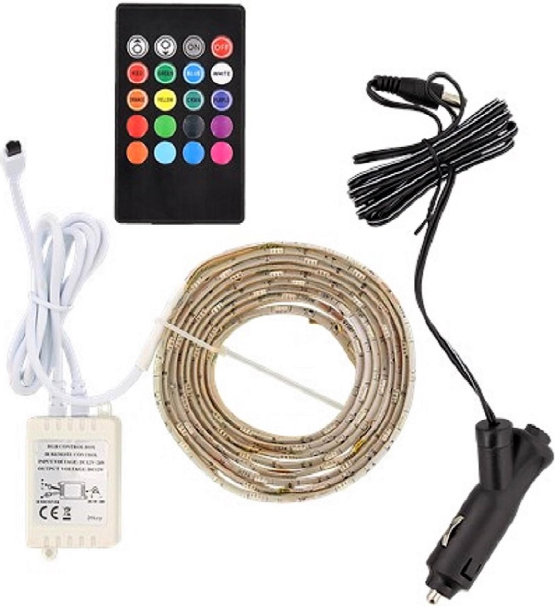 Auto LED-strip - 2m - multi-colour - incl. afstandsbediening