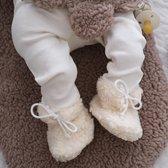 Teddy baby slofjes Ecru