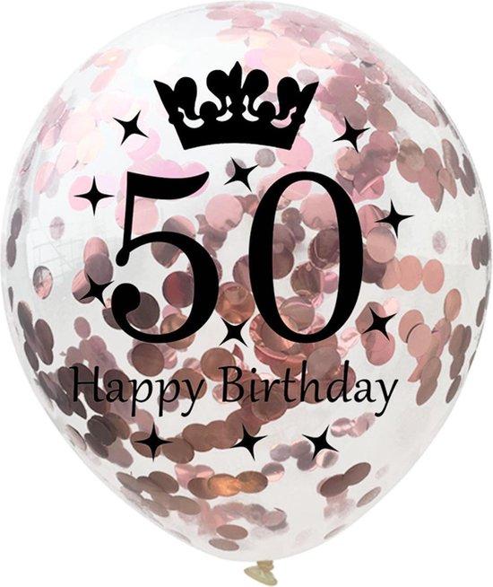 Confetti ballon | verjaardag | set van 5 | metallic rose | happy birthday 50