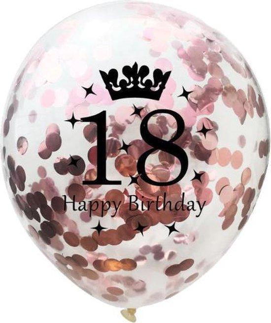 Confetti ballon | verjaardag | set van 5 | metallic rose | happy birthday 18
