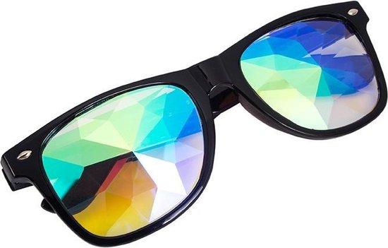 Caleidoscoop bril Wayfarer zwart - spacebril festival rave steampunk