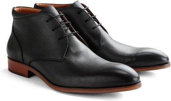 DEN BROECK John St. Leather - Nette halfhoge veterschoen - Zwart
