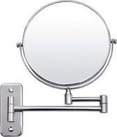 10x Vergrotende Hangende Make-up Spiegel - Scheerspiegel - 360° Ronde Draaibare Wand Cosmetica Spiegel voor Badkamer - Dubbelzijdig met Opklapbare Arm- Uitschuifbaar - 20 cm diameter - Roestvrij Staal - Zilver