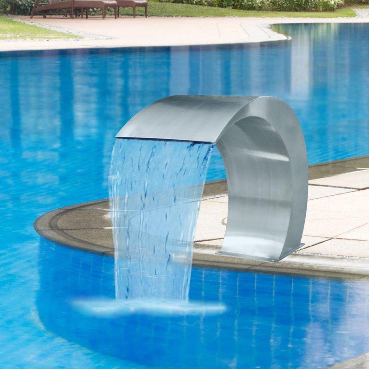 Tuin Waterval 45x30x60cm Roestvrijstaal - Zwembad fontein - Zwembad Waterval - Vijverwaterval - Waterval voor vijver -