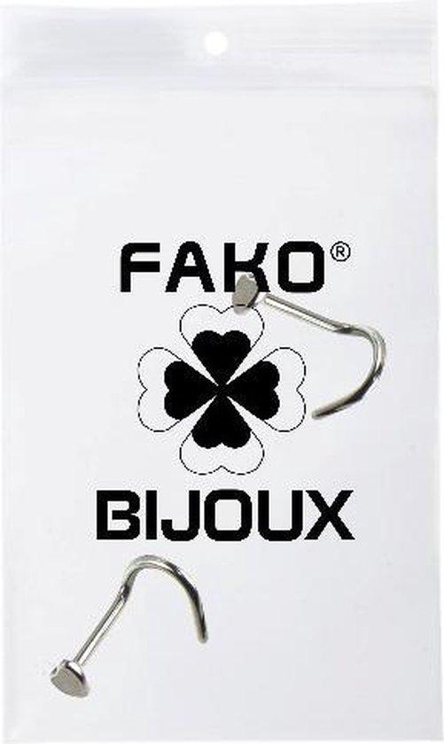 Fako Bijoux® - Neuspiercing - Bocht Hart - Zilverkleurig - 2 Stuks - Fako Bijoux®