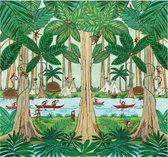 Fotobehang - Jungle - Hanneke de Jager - Groen - 300x280 cm
