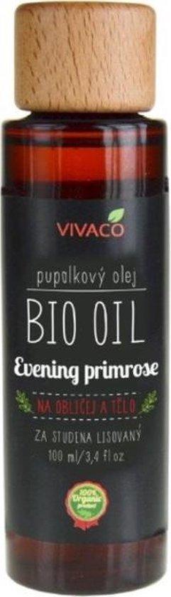 VIVACO BIO OIL Teunisbloemolie - Evening Primrose Oil (100% organisch) - 100ml - helpt met regeneratie van een verbrande en ontstoken huid en om huidaandoeningen zoals psoriasis en atopisch eczeem helpen te genezen.
