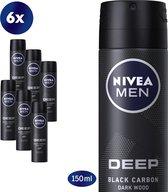 NIVEA MEN Deep Deodorant Spray - 6 x 150 ml - Voordeelverpakking