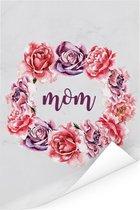 Mooi cadeau voor moeder met bloemenprint en tekst - Mom Poster 120x180 cm XXL / Groot formaat!