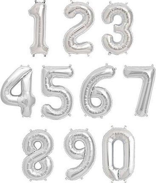 Cijfer ballon 8 Zilver