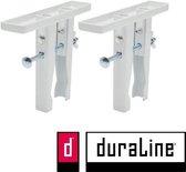 Duraline radiatorsteun - Plankdrager voor op radiator - Klemsysteem voor verwarming - 2 stuks - Wit