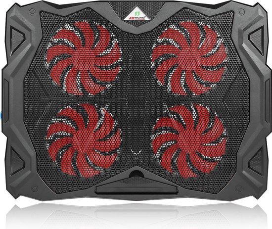 Fuegobird Laptop Cooling Stand | 4 Ventilatoren | Regelbare ventilator snelheid |USB-voeding | Rood Verlicht | max 17 inch (Zwart)