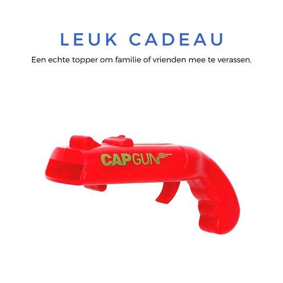 Creatieve Bieropener - Dopjeschieter - Ideaal voor feestjes en verjaardagen - Leuke Fles Opener - Perfect Cadeau voor Familie of Vrienden - Lichtgewicht, Makkelijk mee te nemen - Cap Gun - Rode Kleur