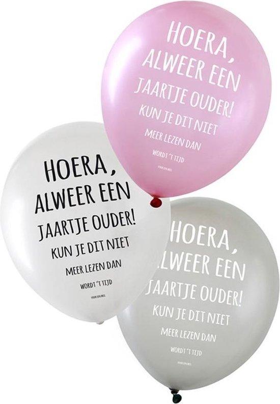 Ballonnen Hoera, alweer een jaartje ouder! 36 cm 6 stuks