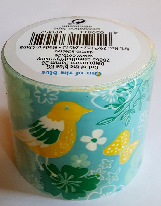 masking tape Blauw met Vogels N - decoratie washi papier tape - 48 mm x 4 m