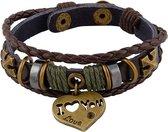 Leren armband uit Tibet met hartvormig bedeltje