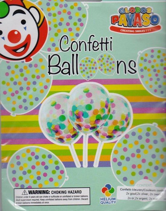 Confetti ballonnen goud, zilver zwart 6 stuks