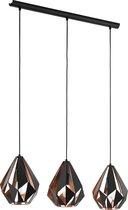 EGLO Carlton 1 Hanglamp - 3-lichts - E27 - zwart/koperkleurig