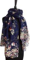 Dames sjaal - viscose - vogels - bloemen - marineblauw - zwart - geel - roze - rood - 80 x 175 cm
