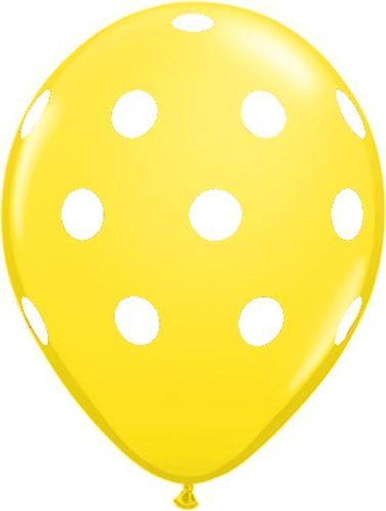 Ballonnen dots geel/wit 8 stuks 30 cm