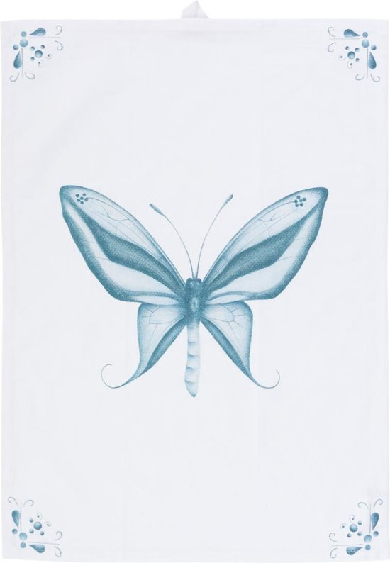 by Sorcia - theedoek Delft Blue Butterfly - 50x70cm - katoen - designed in Holland