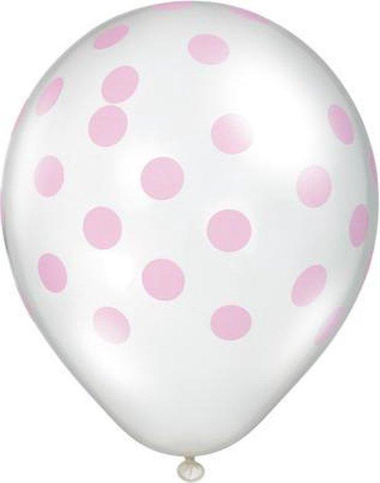 Ballonnen Dots Transparant/Roze