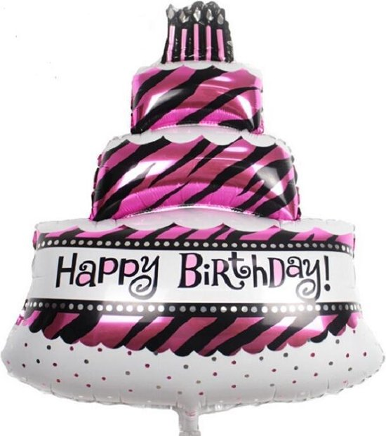 Happy birthday taart folieballon roze