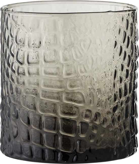 Bloomingville - Waxinelichtjeshouder - Glas Relief - Grijs - D8,5xH9 cm
