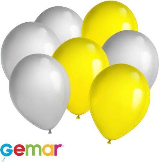 30x Ballonnen Zilver en Geel (Ook geschikt voor Helium)