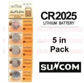 Suncom CR2025 Knoopcel Batterijen ( 5 stuks ) DL2025, KCR2025, E-CR2025, 5003LC, SB-T14, 280-205, DL20256B, BR2025-1W, CR2025-1W, KCR2025, L12, LM2025, SB-T14, LF1/2V, 5003LC