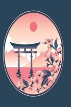 japanese shrine in pink and gold