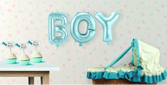 Opblaasletters BOY geboorte ballonnen - babyshower versiering