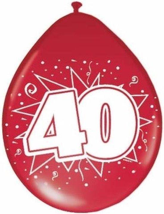 8x Rode ballonnen 40 jaar jubileum thema - feestartikelen en getrouwd versieringen