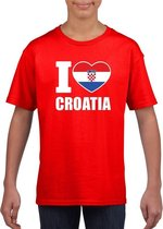 Rood I love Kroatie fan shirt kinderen M (134-140)