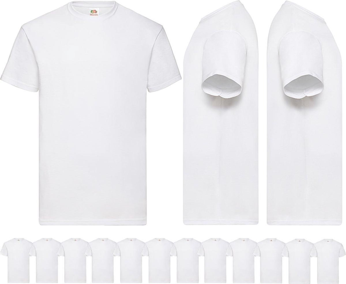 12 pack witte Fruit of the Loom shirts ronde hals maat M Valueweight