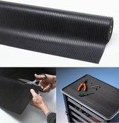 Rubber loper / Antislip / Rib n Roll broad rib 6 mm / 120 cm x 10 mtr / zwart