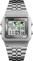 Skmei EL Digitaal Roestvrijstalen - Retro RVS Watch - Worldtime - Sporthorloge  - Alarm - Stopwatch - 30m 5ATM Waterdicht - Zilver
