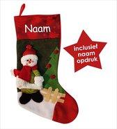 Kerstsok Sneeuwpop met naam naar keuze