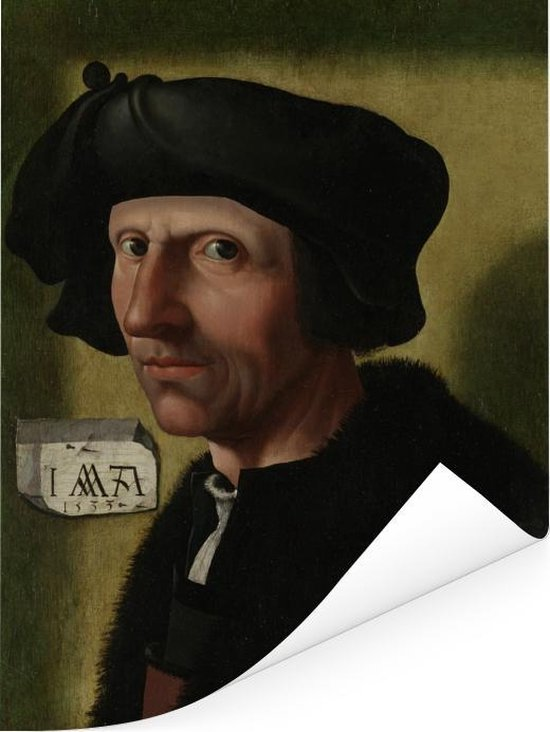 Portret van Jacob Cornelisz van Oostsanen - Schilderij van Jacob Cornelisz van Oostsanen Poster 120x160 cm - Foto print op Poster (wanddecoratie woonkamer / slaapkamer) XXL / Groot formaat!