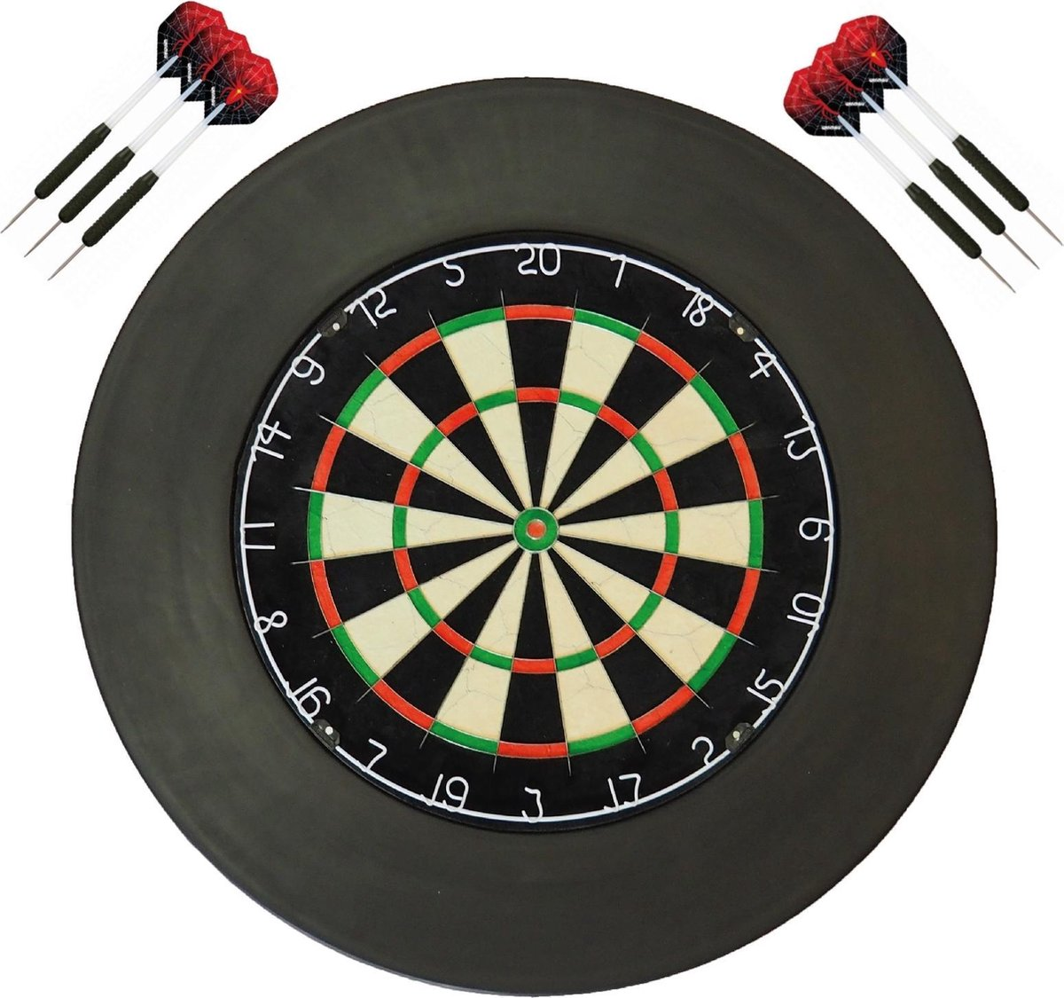 A-merk XQ - dartbord - (BEST getest) + surround ring zwart + 2 sets Dragon Spider - dartpijlen