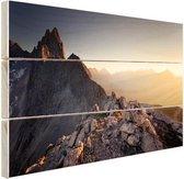 Uitzicht over de bergen Hout 120x80 cm - Foto print op Hout (Wanddecoratie)