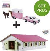 Kids Globe SET houten Paardenstal met 9 boxen+Mitsubishi met paardentrailer( Roze) 1:32