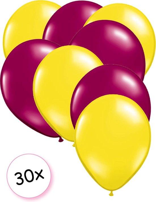 Ballonnen Geel & Fuchsia 30 stuks 27 cm
